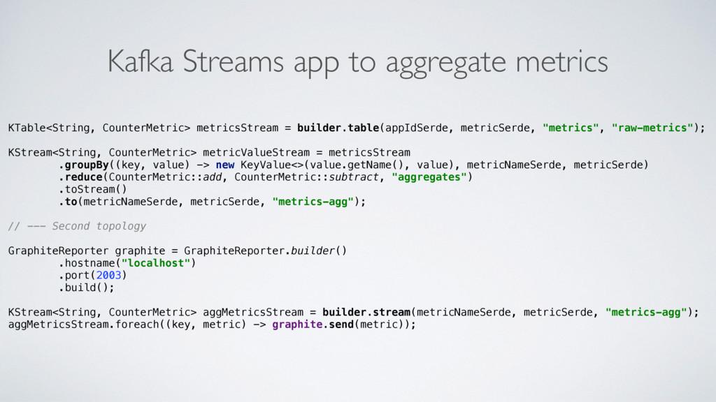 Kafka Streams app to aggregate metrics KTable<S...