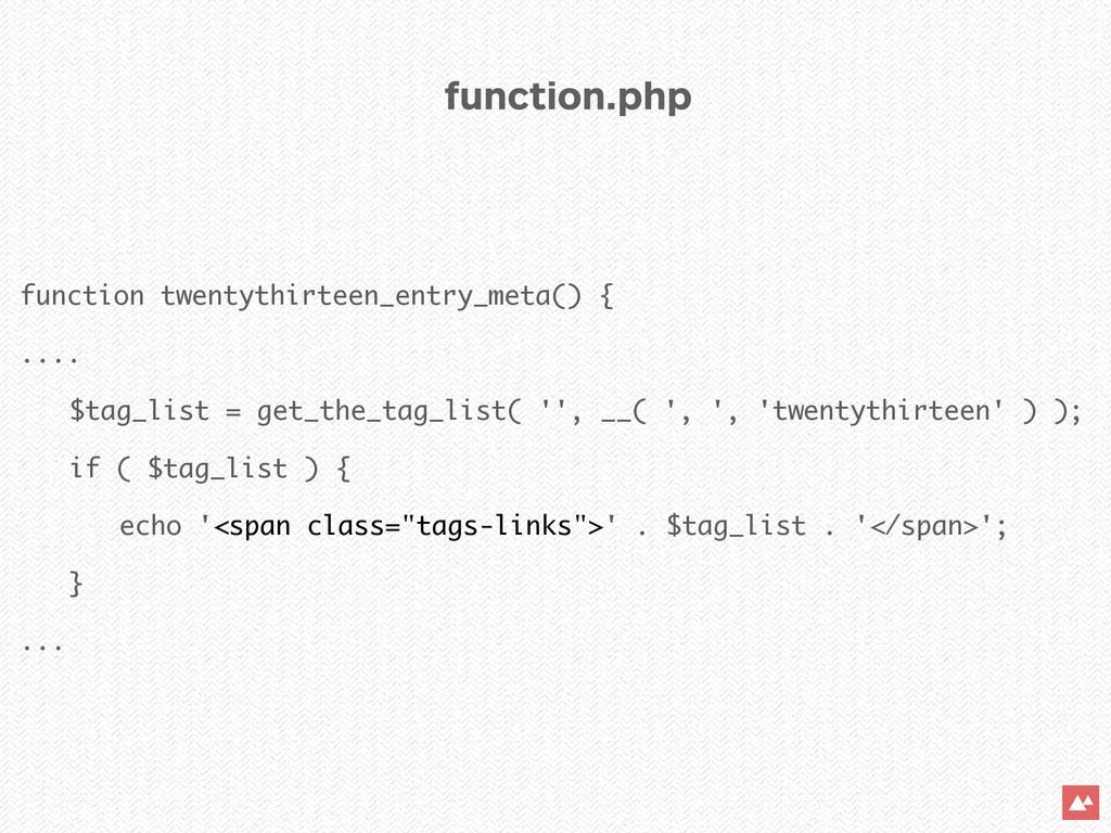 function twentythirteen_entry_meta() { .... $ta...