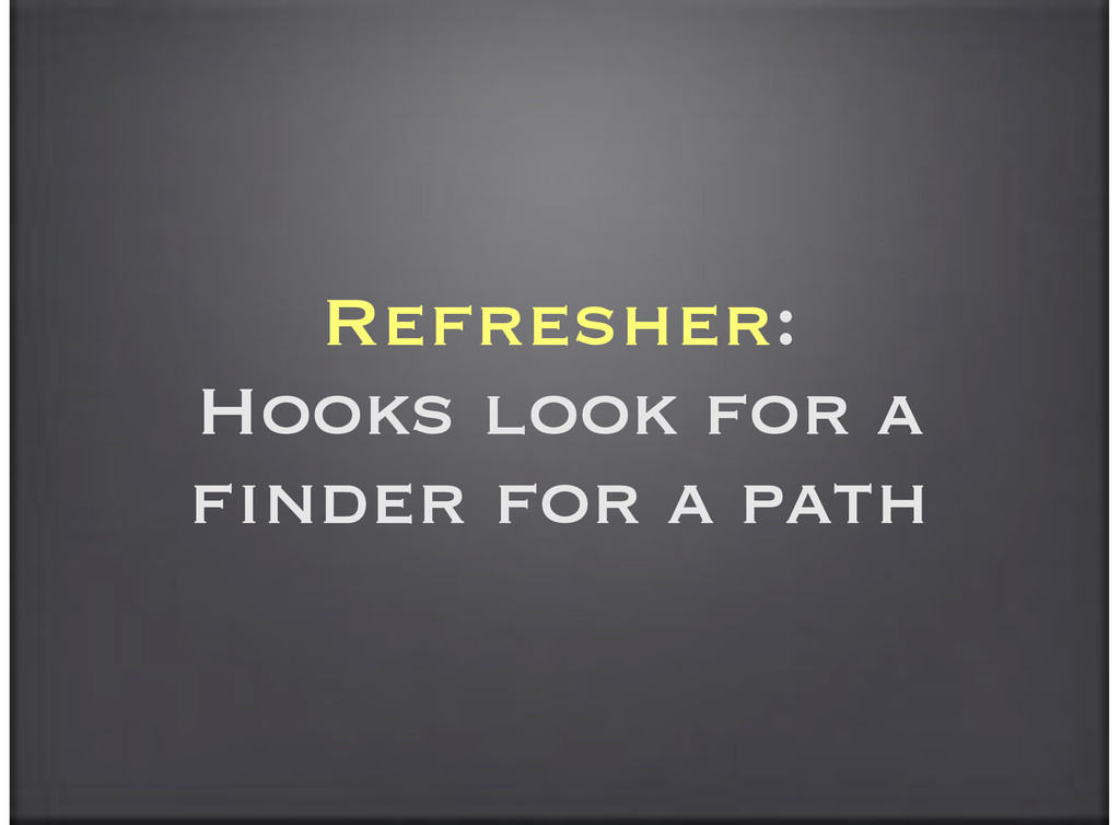 Refresher: Hooks look for a finder for a path