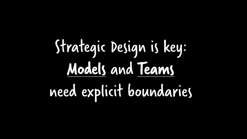 Strategic Design is key: Models and Teams need ...