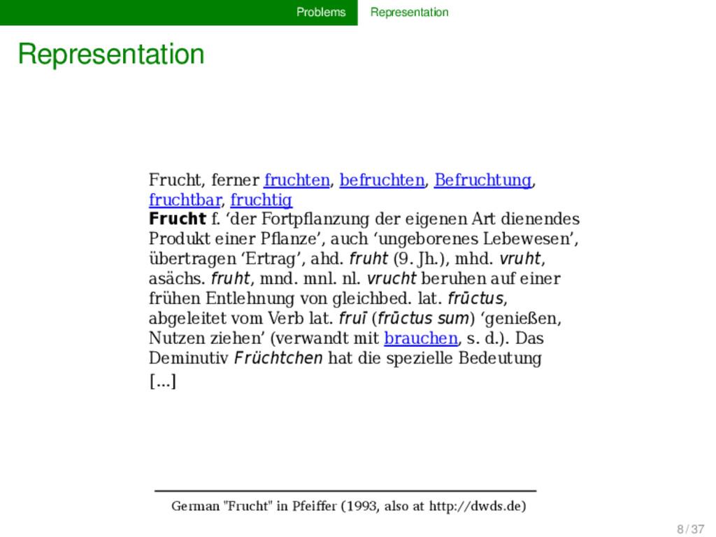 Problems Representation Representation Frucht, ...