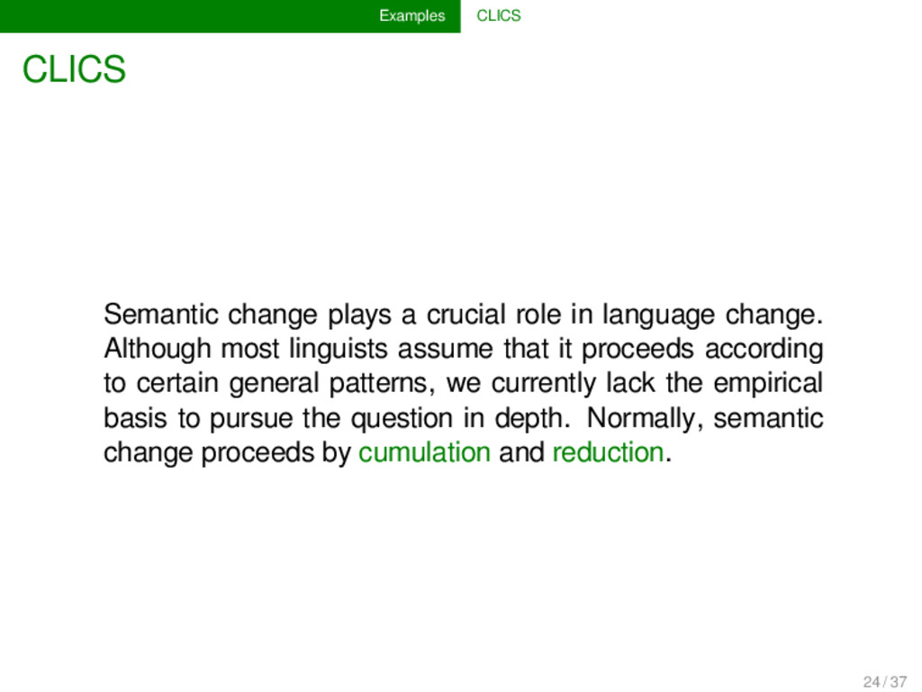 Examples CLICS CLICS Semantic change plays a cr...