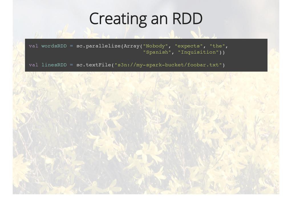 Creating an RDD val wordsRDD = sc.parallelize(A...
