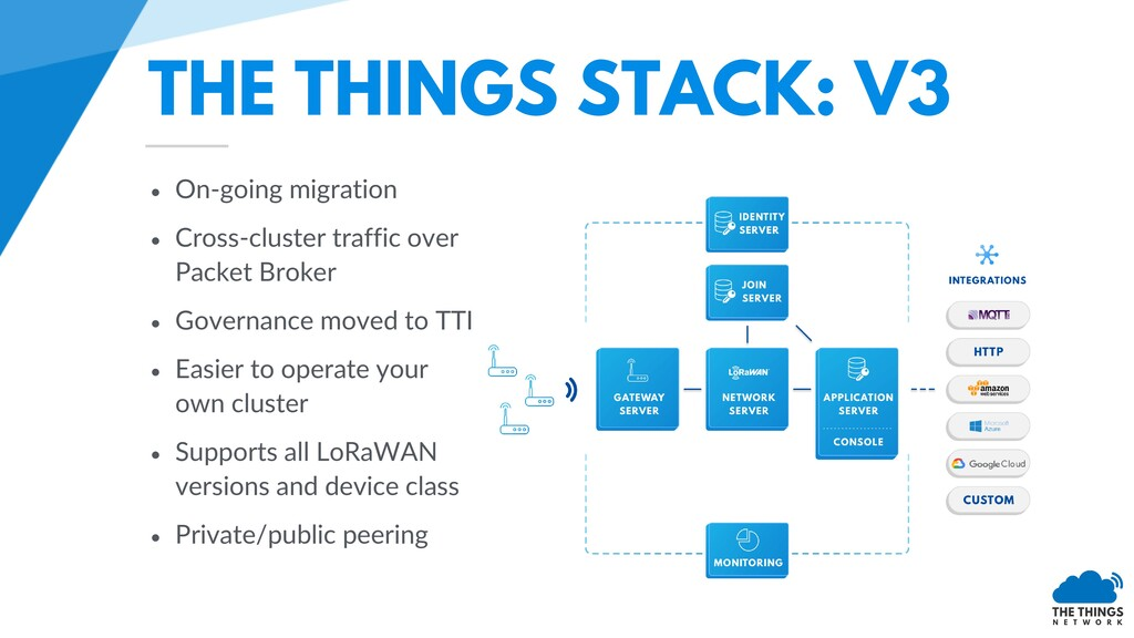 THE THINGS STACK: V3 • On-going migration • Cro...