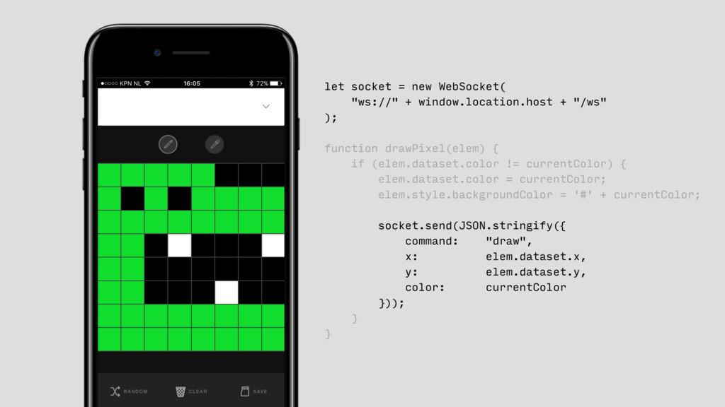 """let socket = new WebSocket( """"ws://"""" + window.lo..."""