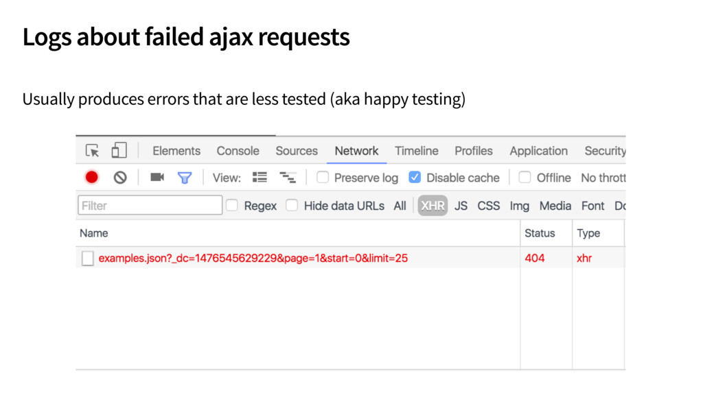 Logs about failed ajax requests Usually produce...