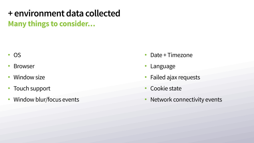 + environment data collected Many things to con...
