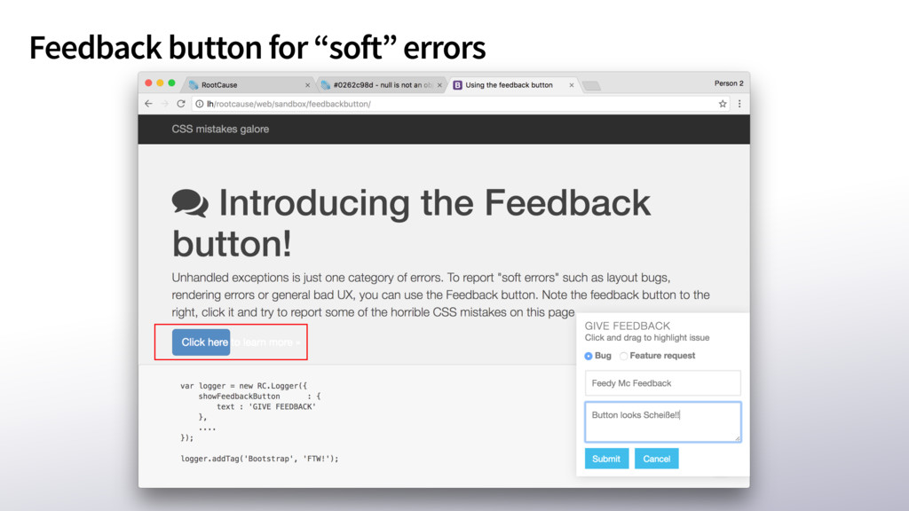 """Feedback button for """"soft"""" errors"""