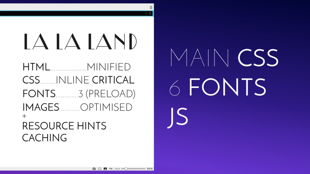 LA LA LAND JS MAIN CSS 6 FONTS + RESOURCE HINTS...