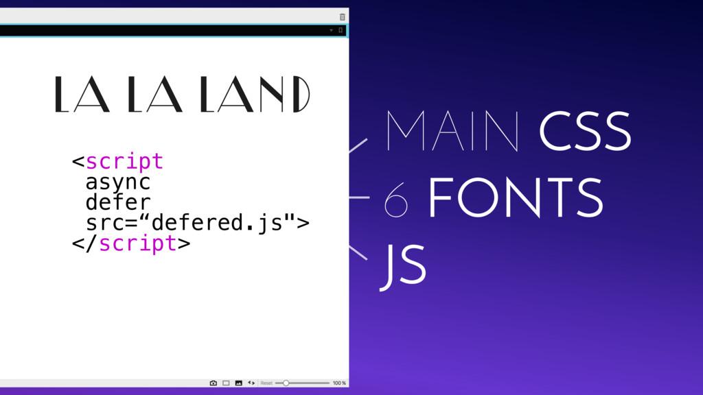 LA LA LAND JS MAIN CSS 6 FONTS <script async de...