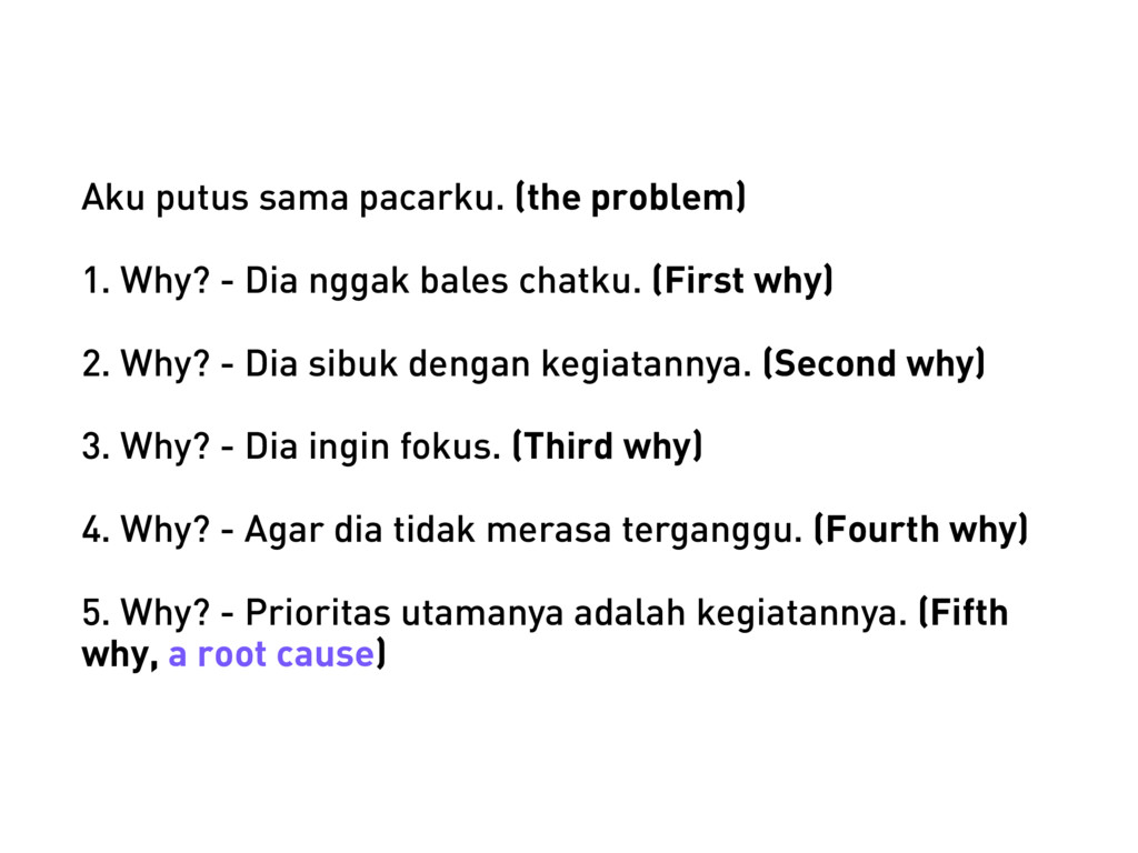 Aku putus sama pacarku. (the problem) 1. Why? -...