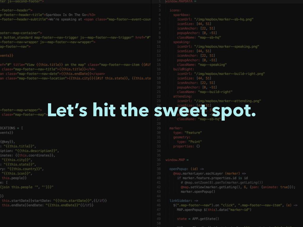 Let's hit the sweet spot.
