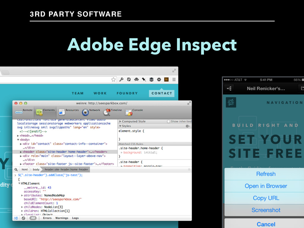 Adobe Edge Inspect 3RD PARTY SOFTWARE