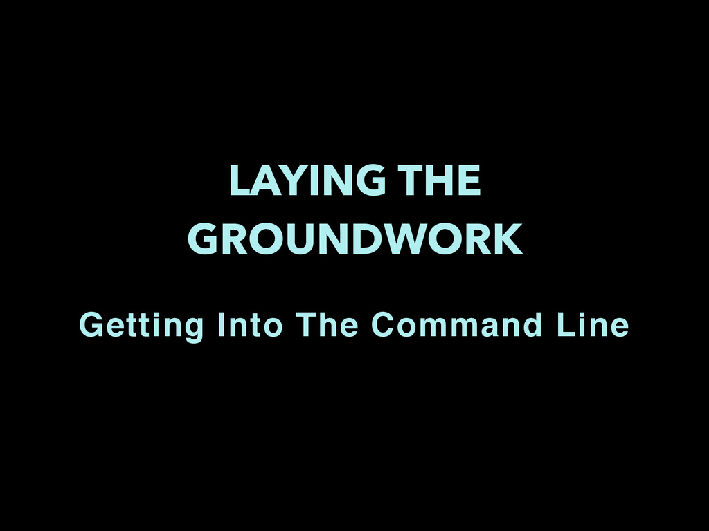 LAYING THE GROUNDWORK Getting Into The Command ...