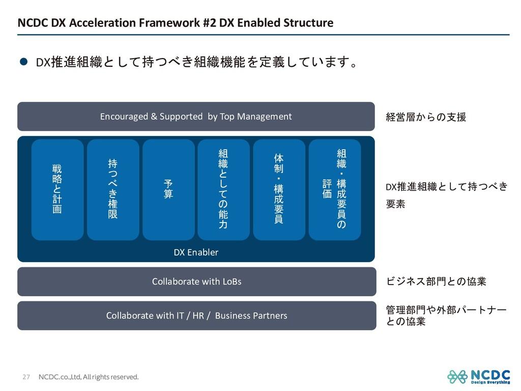 l DX推進組織として持つべき組織機能を定義しています。 NCDC DX Accelerati...