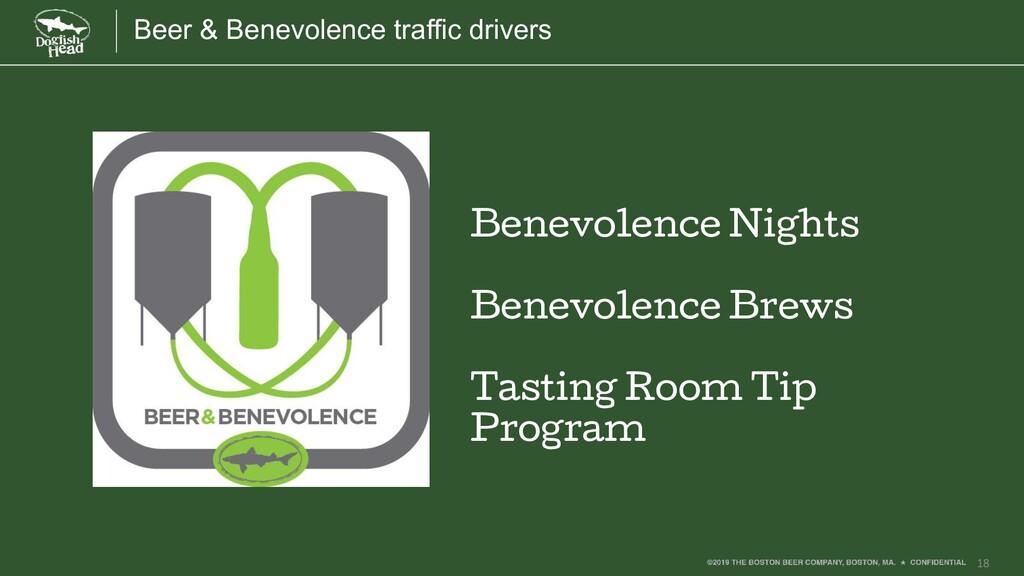 18 Beer & Benevolence traffic drivers Benevolen...