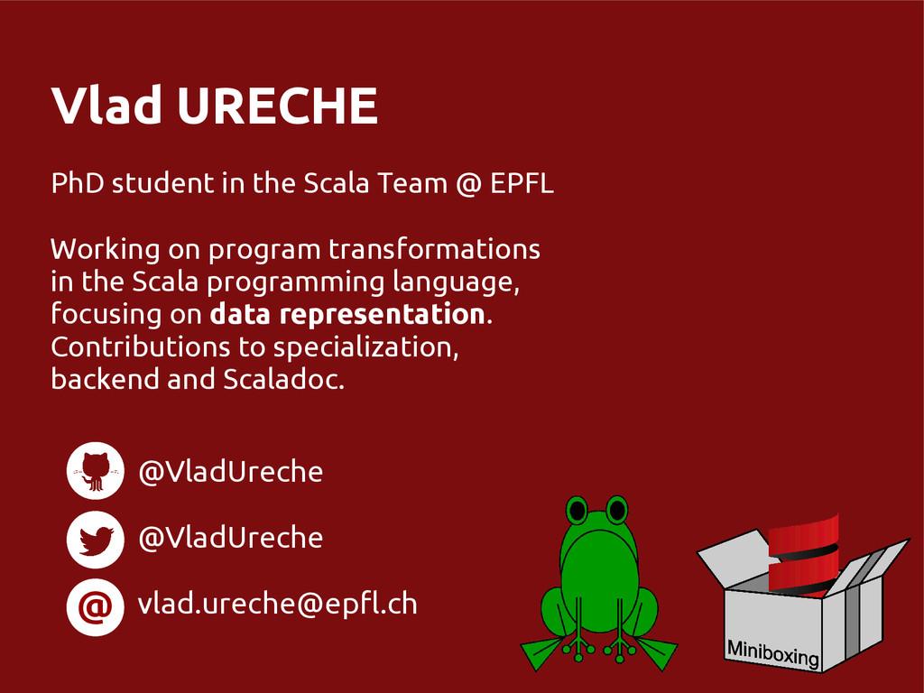 Vlad URECHE PhD student in the Scala Team @ EPF...