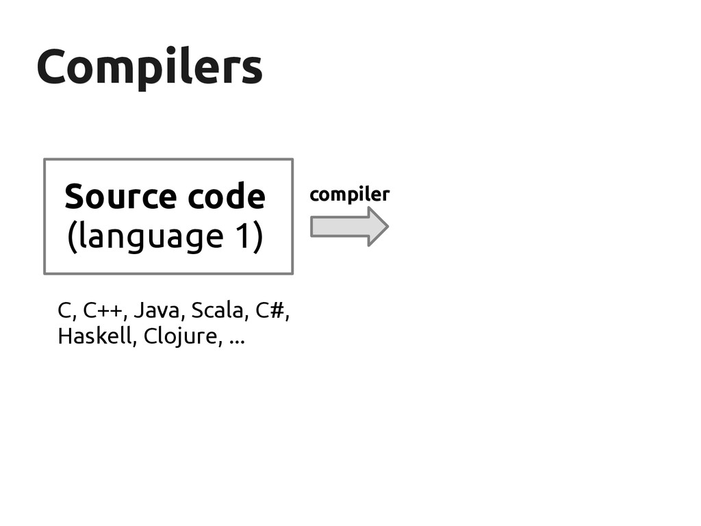 Compilers Compilers Source code (language 1) co...