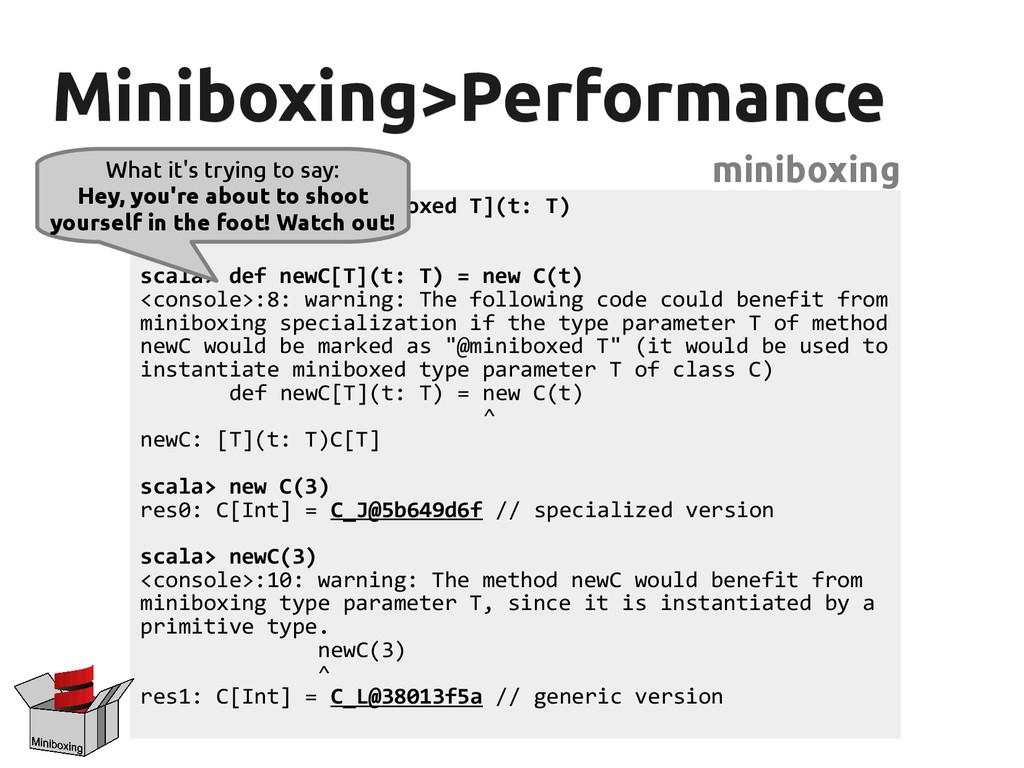 Miniboxing>Performance Miniboxing>Performance m...