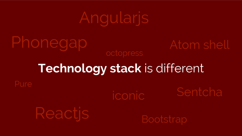 Technology stack is different Phonegap Reactjs ...