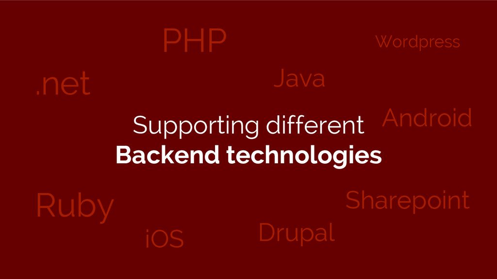 .net Ruby PHP Drupal iOS Java Wordpress Sharepo...