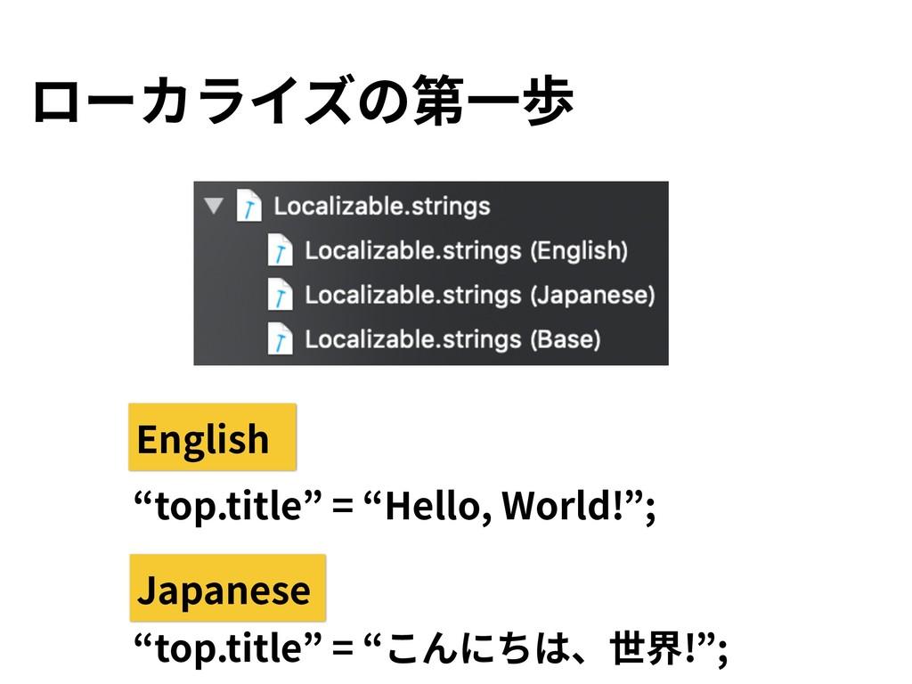 """ローカライズの第⼀歩 """"top.title"""" = """"こんにちは、世界!""""; """"top.titl..."""