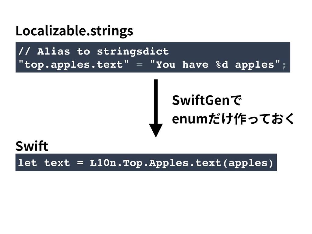let text = L10n.Top.Apples.text(apples) // Alia...