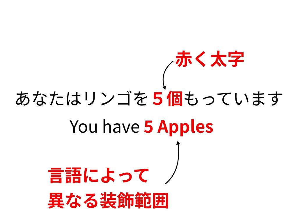 あなたはリンゴを5個もっています You have Apples ⾚く太字 ⾔語によって 異な...