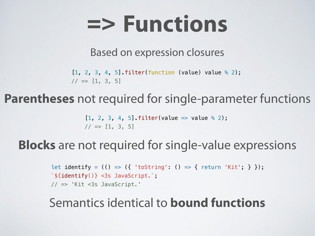 => Functions [1, 2, 3, 4, 5].filter(function (v...