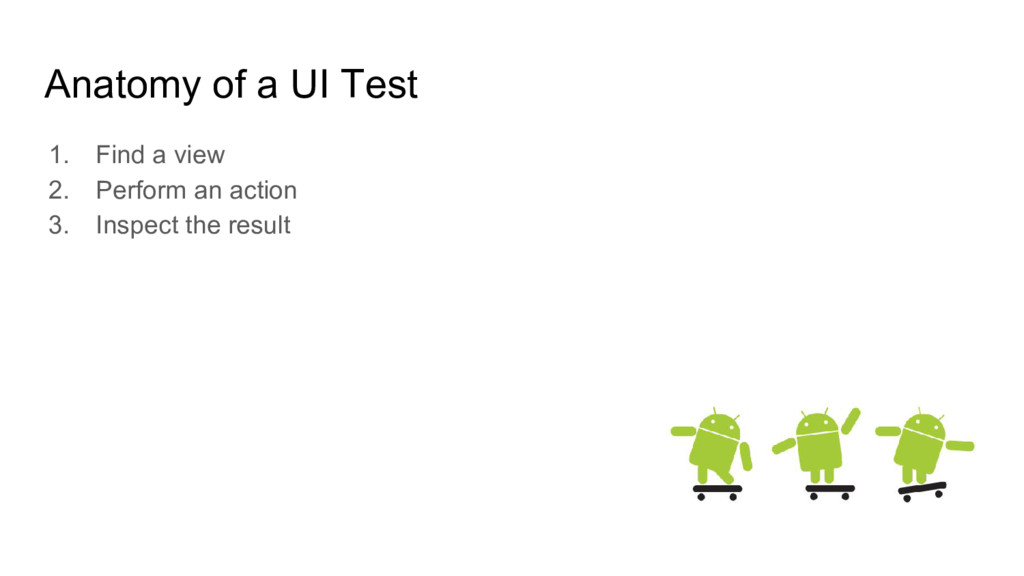 Anatomy of a UI Test 1. Find a view 2. Perform ...