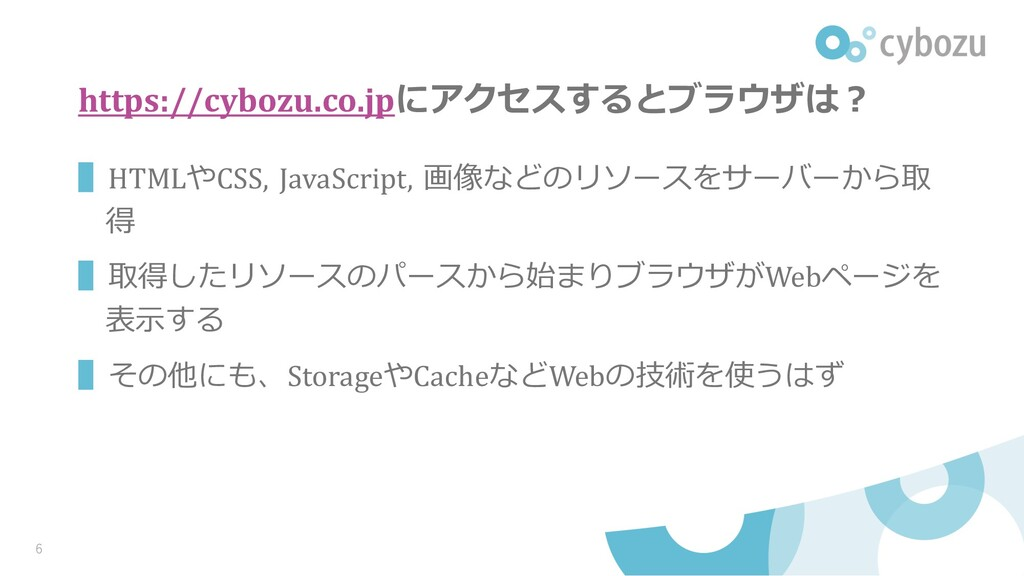 https://cybozu.co.jpにアクセスするとブラウザは︖ ▌HTMLやCSS, J...