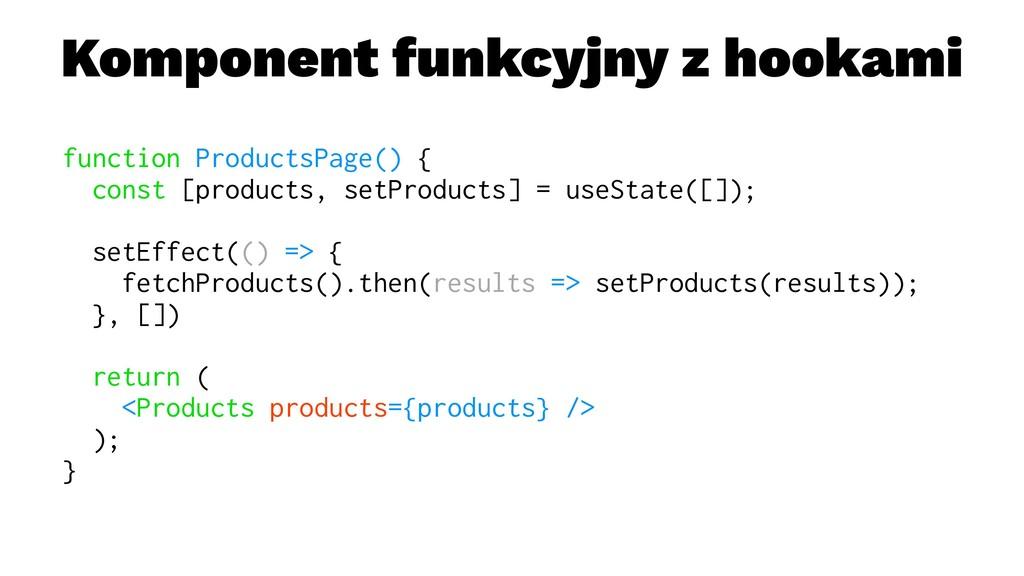 Komponent funkcyjny z hookami function Products...