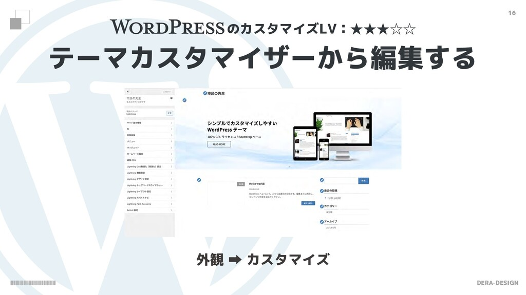 DERA-DESIGN 16 テーマカスタマイザーから編集する 外観  カスタマイズ のカス...