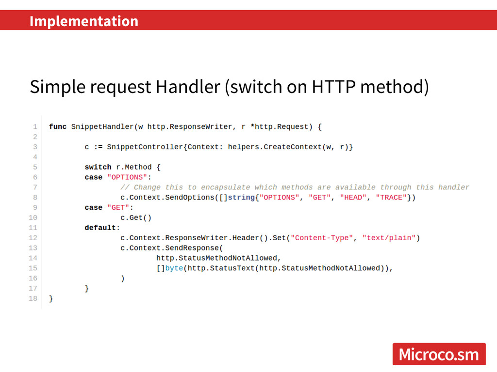 Implementation Simple request Handler (switch o...