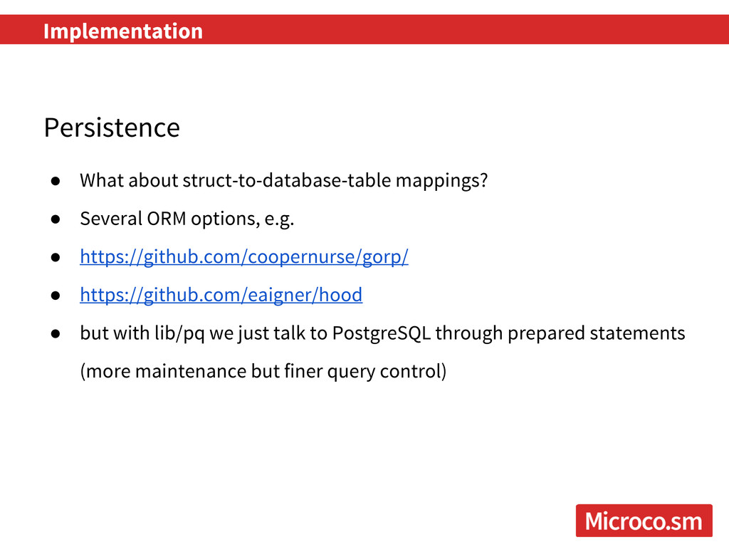 Implementation Persistence ● What about struct-...