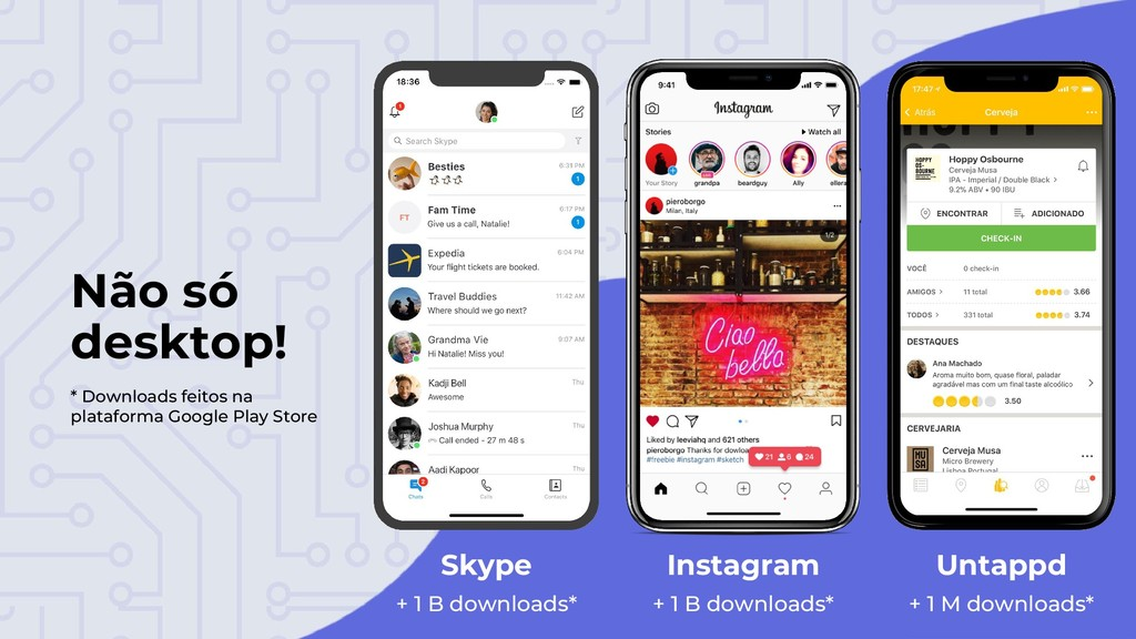 Não só desktop! Skype Instagram Untappd + 1 B d...