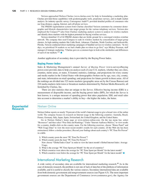 126 PART II • RESEARCH DESIGN FORMULATION Exper...