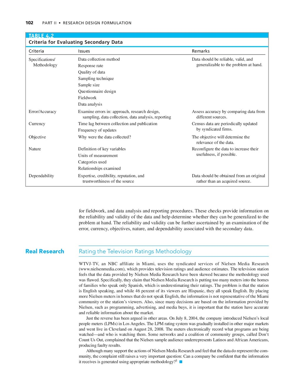 102 PART II • RESEARCH DESIGN FORMULATION TABLE...