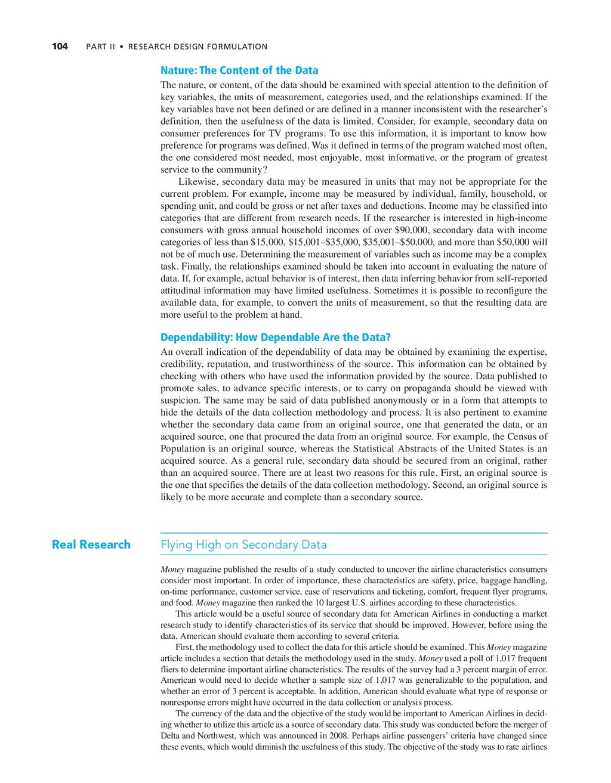 104 PART II • RESEARCH DESIGN FORMULATION Natur...