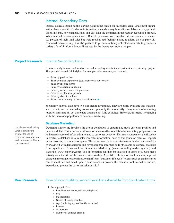 106 PART II • RESEARCH DESIGN FORMULATION datab...