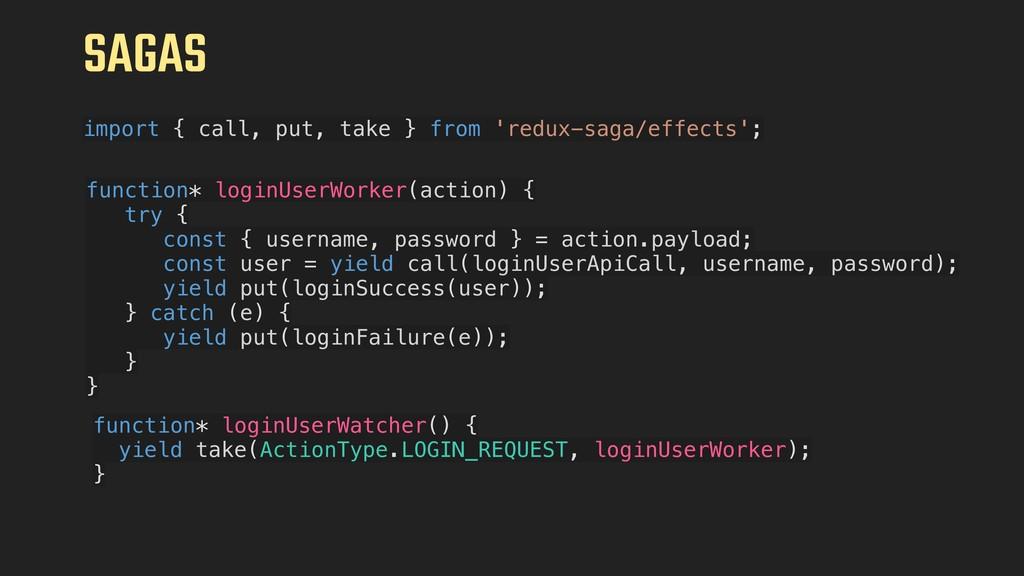 SAGAS import { call, put, take } from 'redux-sa...