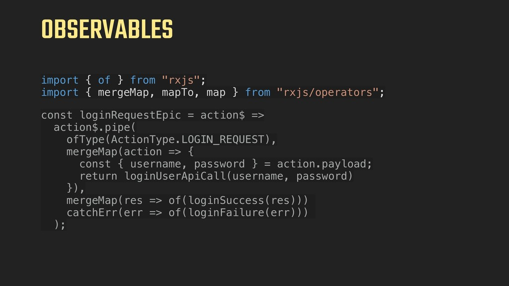 """OBSERVABLES import { of } from """"rxjs""""; import {..."""