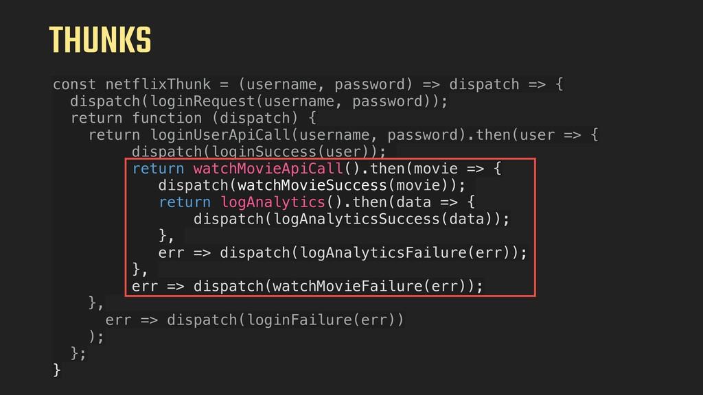 THUNKS const netflixThunk = (username, password...