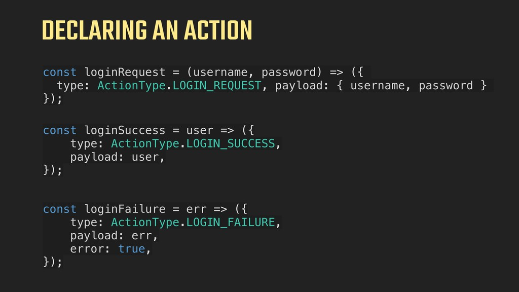 DECLARING AN ACTION const loginRequest = (usern...