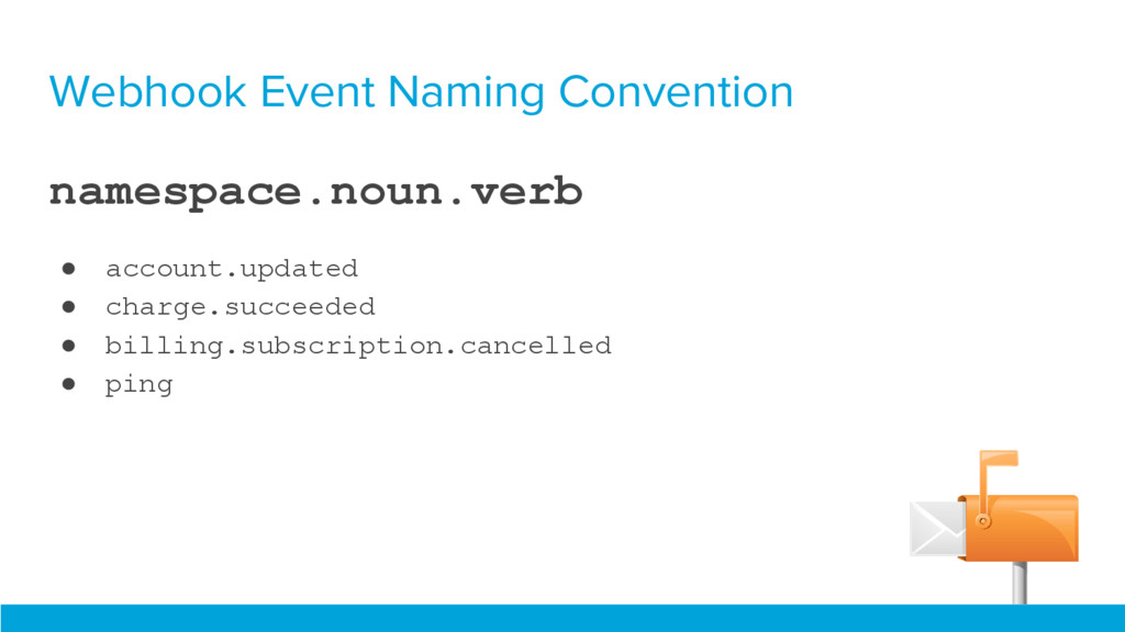Webhook Event Naming Convention namespace.noun....
