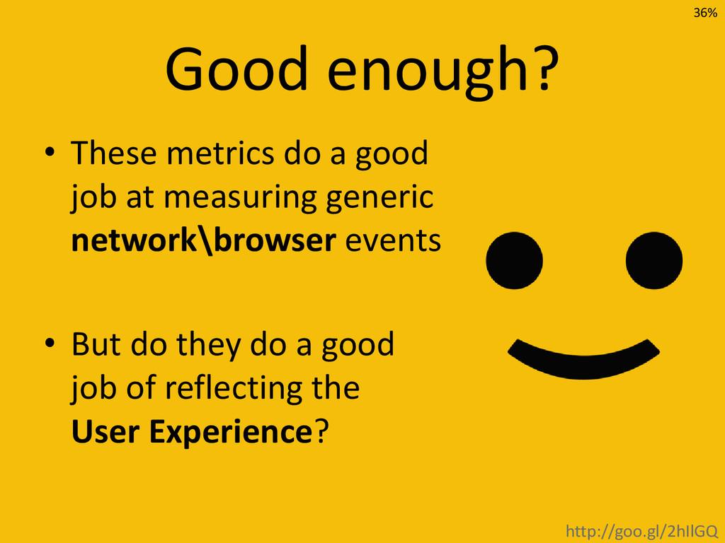 Good enough? • These metrics do a good job at m...