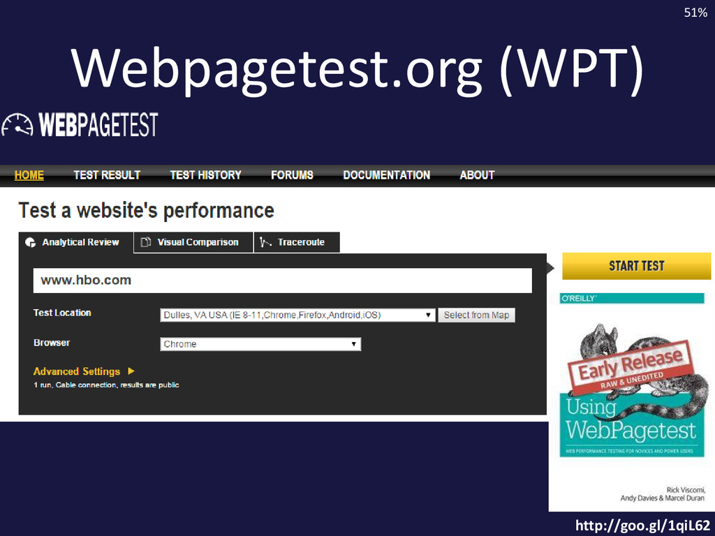 Webpagetest.org (WPT) http://goo.gl/1qiL62 51%