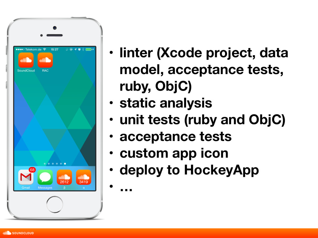 • linter (Xcode project, data model, acceptance...