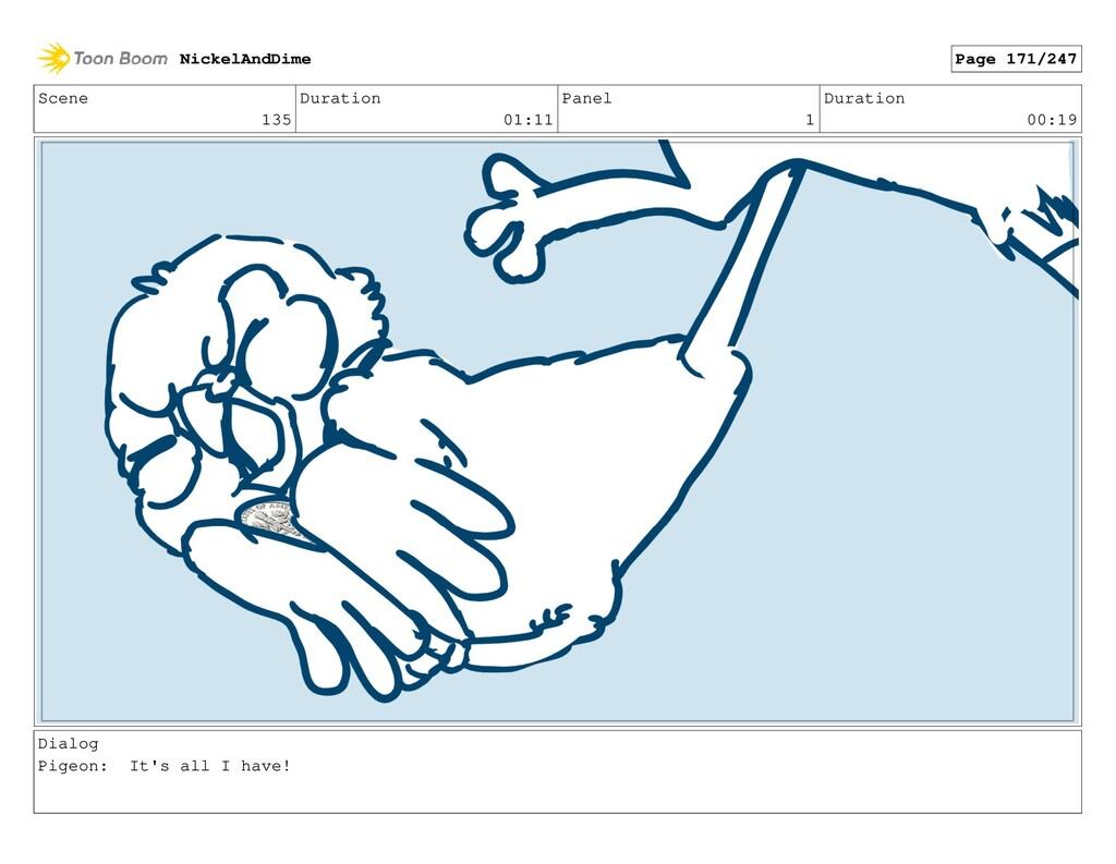 Scene 135 Duration 01:11 Panel 1 Duration 00:19...