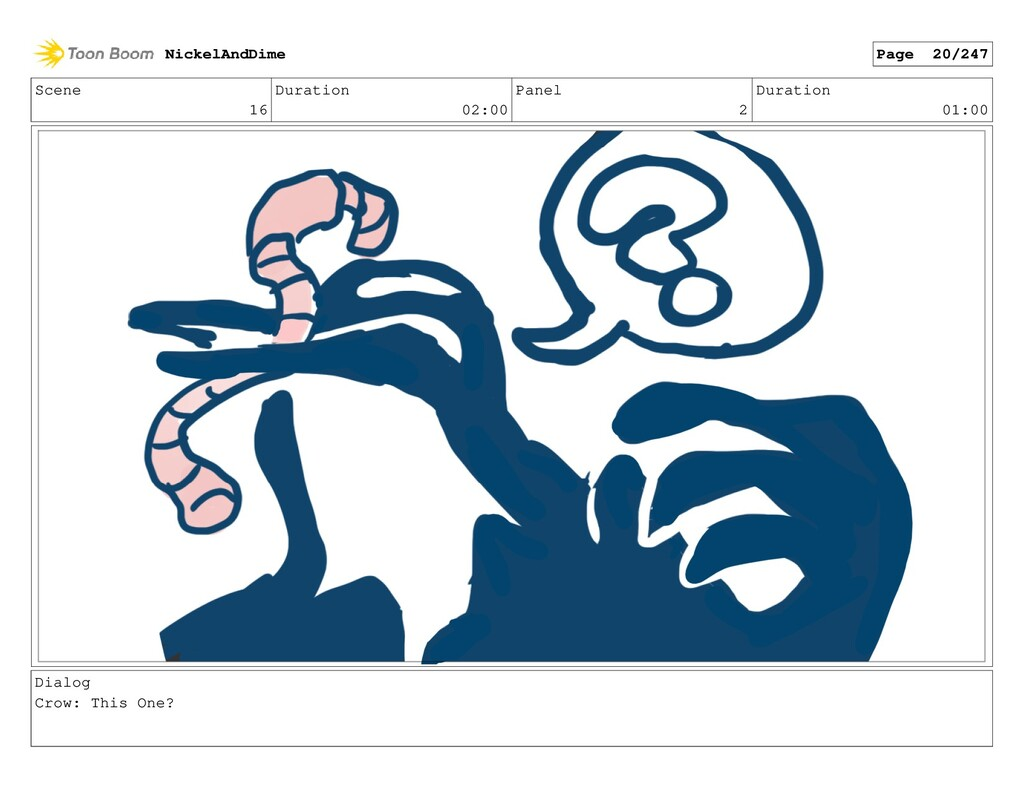 Scene 16 Duration 02:00 Panel 2 Duration 01:00 ...